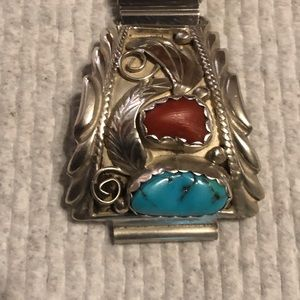 Sterling silver ,turquoise Navajo watch band